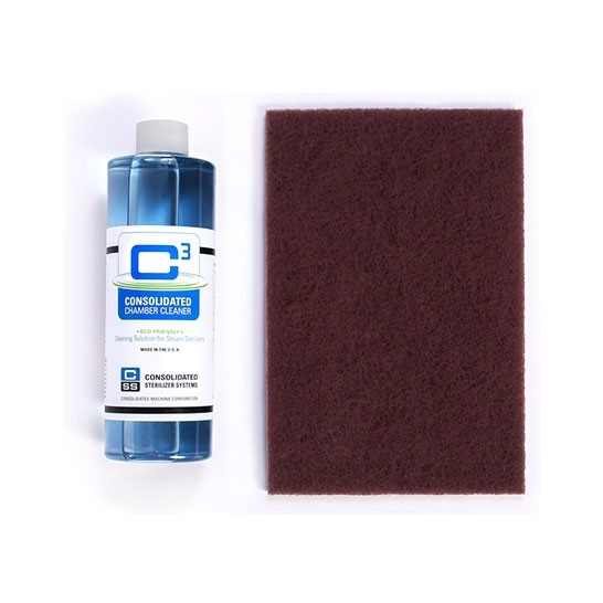 12-001, C3 Autoclave Chamber Cleaner Starter Kit - 16oz. Bottle of C3 & 2 Cleaning Pads